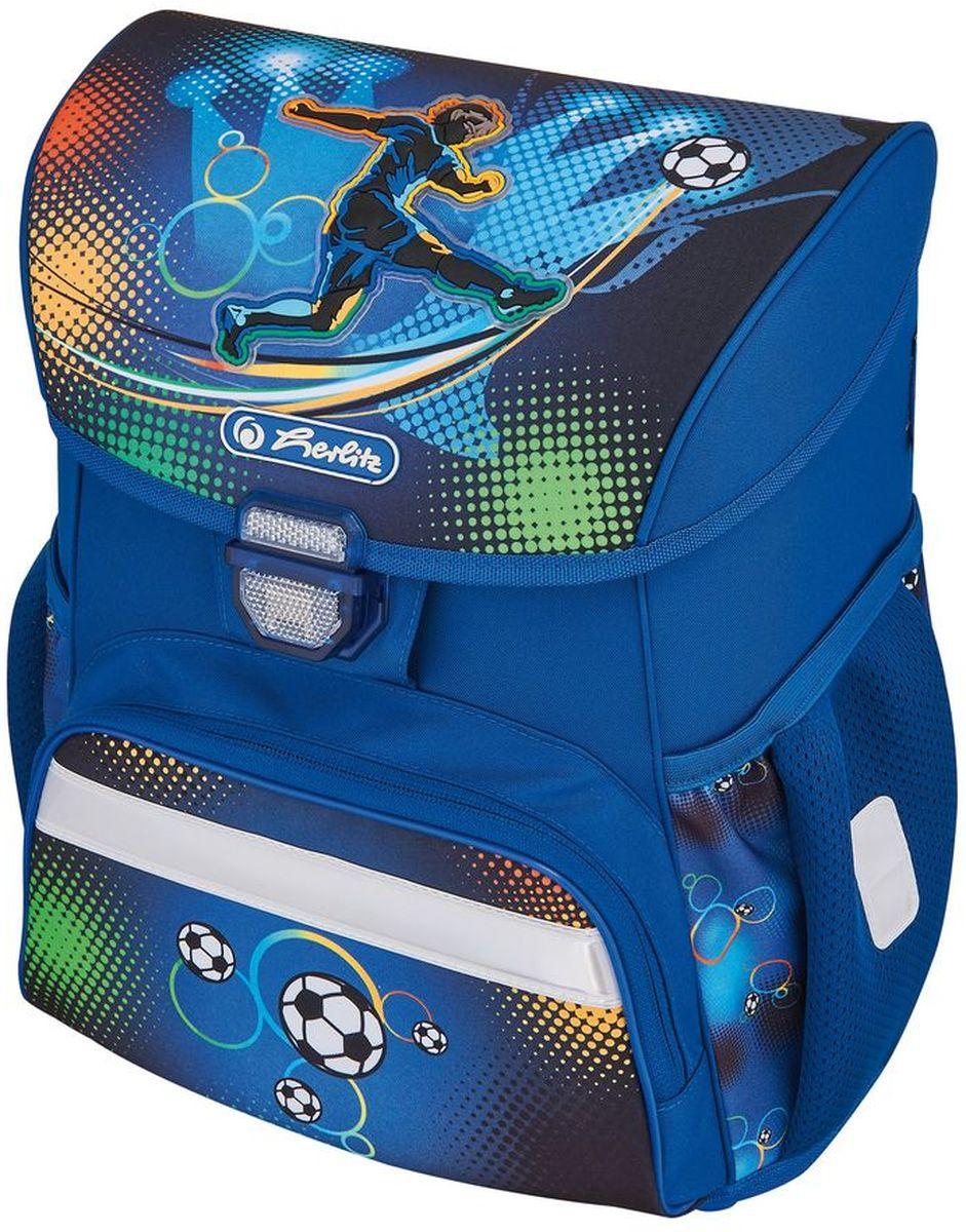 Herlitz Ранец школьный для мальчика Loop Plus Soccer с наполнением цвет синий72523WDРанец Loop Plus Soccer подарит ребенку удобство и стильный внешний вид. Вместе с ранцем в набор входят: текстильный мешок для сменной обуви, жесткий пенал с наполнением 16 предметов, косметичка. Исполненный из полиэстера, он имеет два основных отделения, прикрытых клапаном на защелке, на внутренней стороне которого имеется расписание для уроков, два боковых кармана на резиночке, один большой внешний карман на молнии, уплотненную эргономичную спинку, твердое дно и широкие мягкие регулируемые лямки. Ткань ранца пропитана водоотталкивающим составом. Для удобства переноски рюкзак снабжен ручкой, а чтобы ребенка можно было распознать на дороге в сумерки - светоотражателями. Вес ранца меньше килограмма.