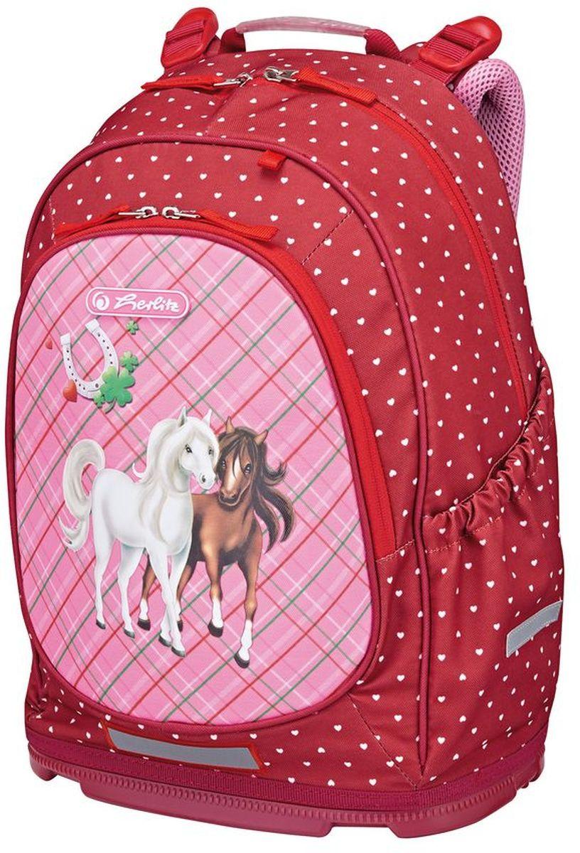 Herlitz Рюкзак Horses цвет красный50008131Рюкзак Herlitz Horses поднимет настроение даже в хмурый день. Кроме красочного дизайна он привлекателен компактными размерами и вместительностью. Имеет просторный внутренний отдел для учебников, тетрадей, альбомов и прочих школьных вещей. Передний наружный карман оснащен органайзером. Личные вещи можно хранить в наружных боковых карманах на резинке.Рюкзак выполнен из прочного и долговечного материала. Эргономичная спинка с трехуровневой системой регулировки бережет осанку. Уплотненные, широкие лямки плотно прилегают к плечам, не натирая их. Можно пользоваться грудной стяжкой, надежно закрепляющей рюкзак. В целях безопасности ребенка на дороге предусмотрены светоотражатели, выделяющие силуэт школьника в вечернее время.
