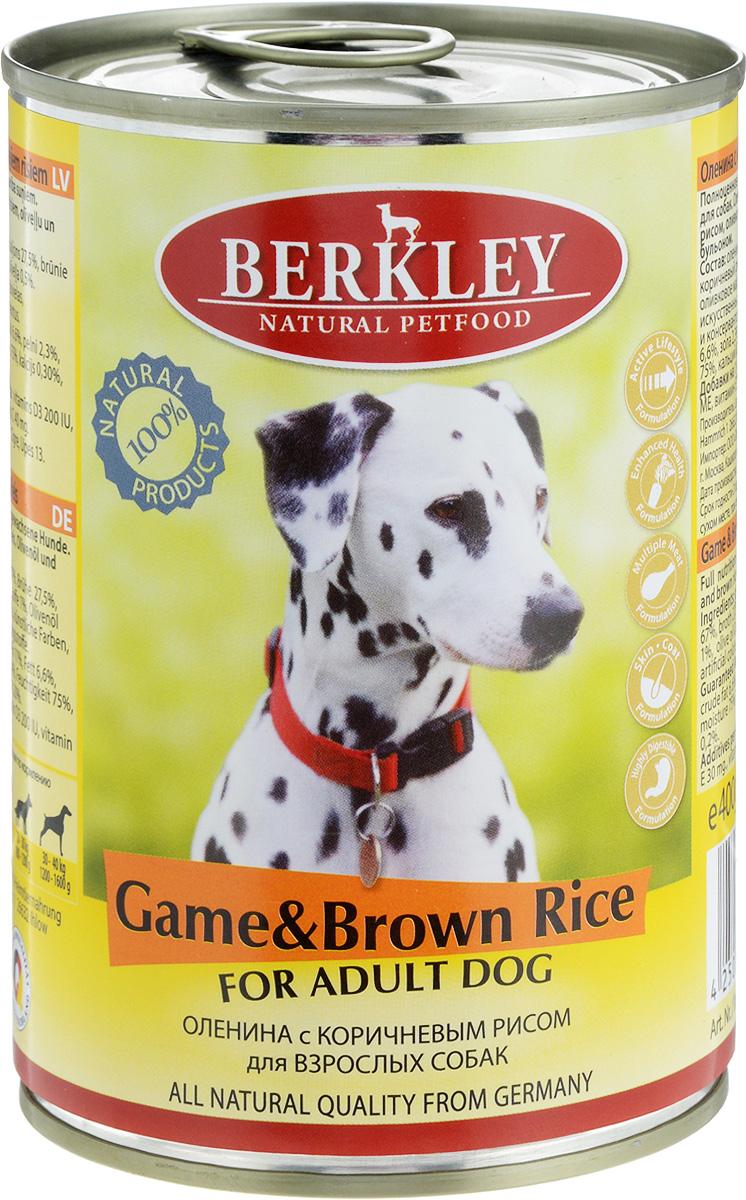 Консервы Berkley, для взрослых собак, оленина с коричневым рисом, 400 г0120710Консервы Berkley - полноценное консервированное питание для взрослых собак. Не содержат сои, консервантов, искусственных красителей и ароматизаторов. Корм полностью удовлетворяет ежедневные энергетические потребности животного и обеспечивает оптимальное функционирование пищеварительной системы.Товар сертифицирован.