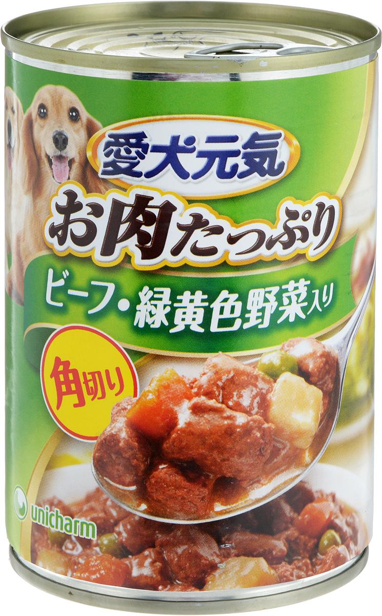Консервы для собак Unicharm Aiken Genki, говяжий гуляш с овощами, 400 г0120710Консервы для собак Unicharm Aiken Genki - это сбалансированное высококачественное питание для вашего питомца. Аппетитные сочные кусочки говядины и овощей в тающем соусе произведены с сохранением всех свойств натуральных продуктов, содержат комплекс питательных веществ и микроэлементов, необходимых для полноценного развития вашего четвероногого друга. Корм полностью удовлетворяет ежедневные энергетические потребности взрослого животного и обеспечивает оптимальное функционирование пищеварительной системы.Состав: курица, говядина, куриный экстракт, морковь, картофель, зеленый горошек, пшеничная мука, приправа, глюкоза, ксилоза, витамины и минералы (В1, В2, В6, D, E, кальций, хлор, калий, натрий, фосфор), стабилизатор (гуаровая камедь), консервант (нитрит натрия), красители (диоксид титана, оксид железа).Пищевая ценность (на 100 г): белки - 5%, липиды - 4%, клетчатка - 1,5%, зола - 4%, влажность - 85%.Энергетическая ценность: 95 ккал.Товар сертифицирован.