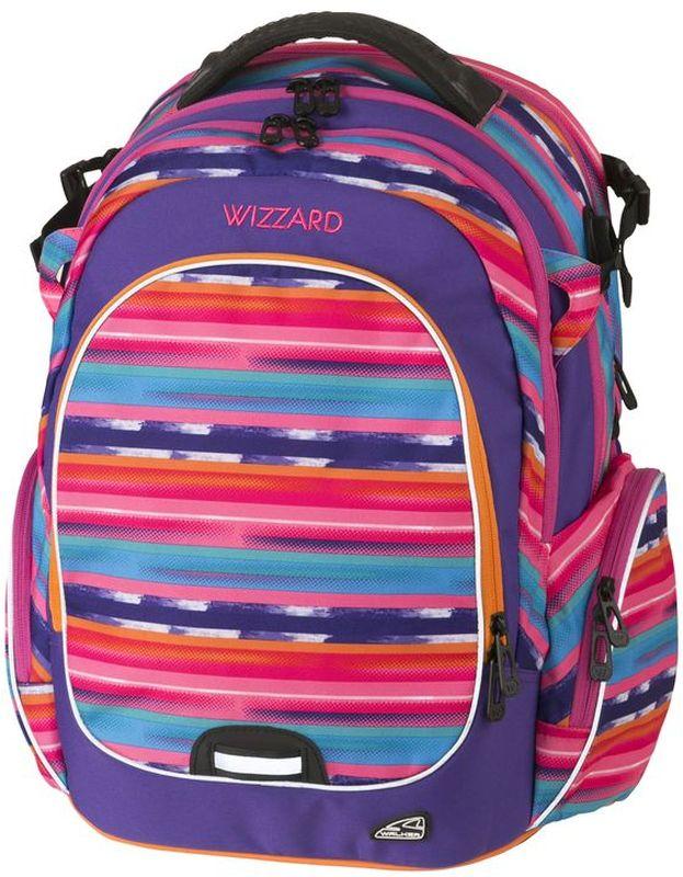 Walker Рюкзак школьный для девочки Wizzard Purple Streak72523WDРюкзак Wizzard Purple Streak выполнен из прочного износостойкого материала высокого качества с влагоотталкивающей пропиткой и обладает объемом 34 литра.Рюкзак имеет отделение для ноутбука, органайзер. Основной отсек рюкзака разграничен гибкими разделителями. Рюкзак оснащен удобными регулируемыми эргономичными лямками и имеет большой вместительный карман на застежке-молнии спереди. Эргономичная спинка с дышащей накладкой, оснащенной вентилируемыми отверстиями, грудная стяжка и ремешок на поясе обеспечивают удобство при длительной носке.Еще два кармана на застежке-молнии находятся по бокам снаружи. Рюкзак оснащен USB проводом для зарядки гаджетов и свистком. Светоотражающие элементы обезопасят на дороге в темное время суток, а в потайном кармашке на спине рюкзака можно хранить ценные предметы, надежно застегивая кармашек на молнию.