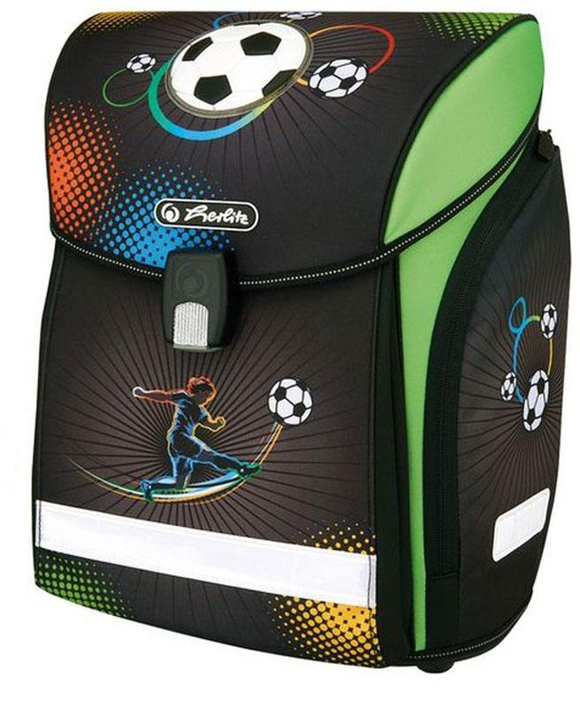 Herlitz Ранец школьный New Midi Plus Soccer с наполнением72523WDРанец Herlitz New Midi Plus Soccer с наполнением:- пенал с наполнением (16 предметов);- пенал-косметичка;- мешок для обуви.Размер: 38 х 32 х 26 см.- новый магнитный замок Fidlock,- 2 внутренних отделения с карманом для учебников,- 1 внутренний карман на молнии,- расписание уроков,- дно из жесткого пластика,- удобный, интегрированный передний карман в корпус ранца,- водоотталкивающая ткань,- светоотражатели 3M на переднем кармане, боковых карманах и лямках, на крышке ранца светоотражающий кант,- 2 просторных боковых кармана на молнии,- эргономичная спинка и уплотненные регулируемые лямки из вентилируемого материала.