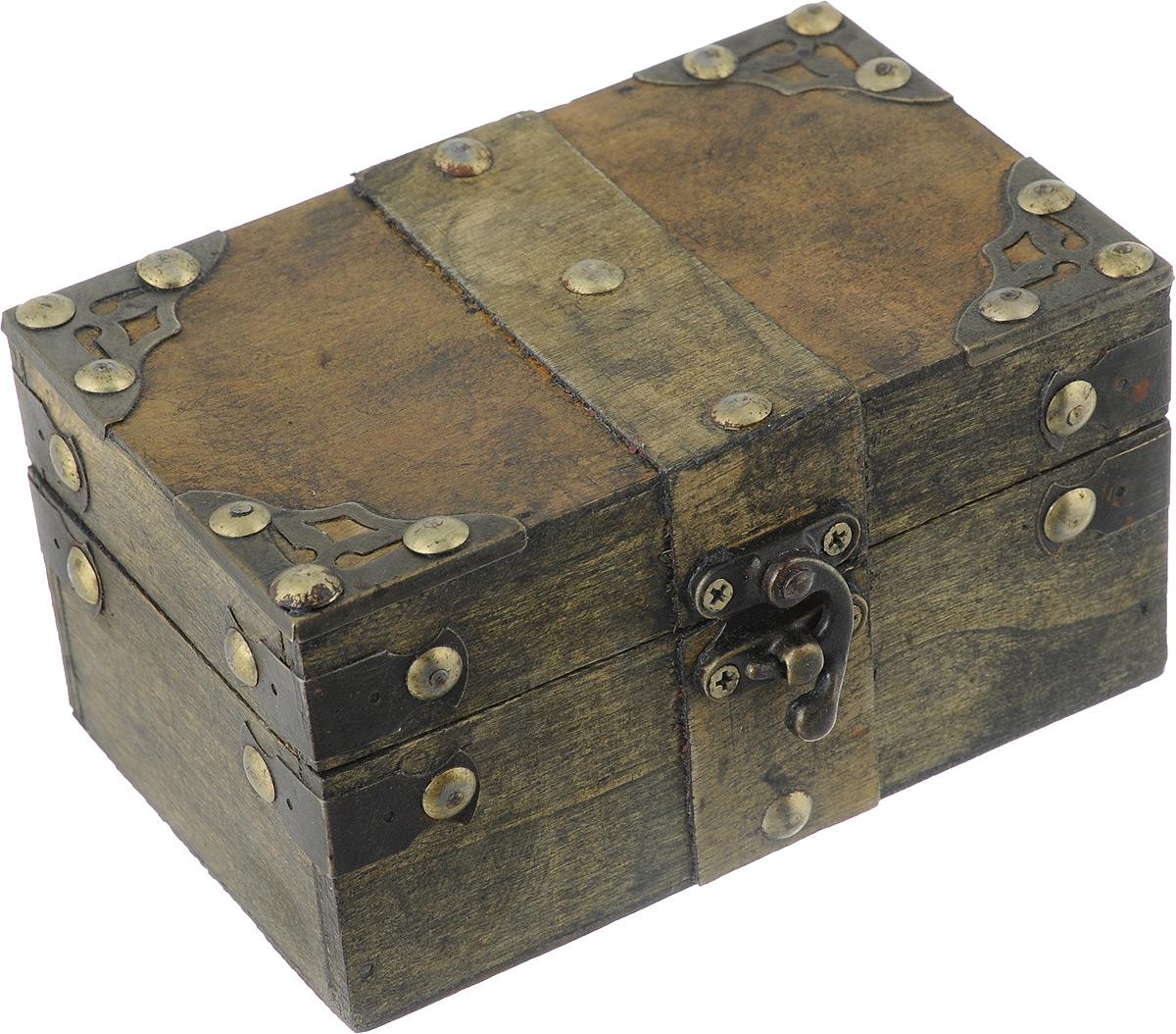 Шкатулка декоративная Bestex, 14 х 9 х 7,5 смFS-91909Декоративная шкатулка Bestex, выполненная в виде старинного сундука, идеально подойдет для хранения бижутерии, принадлежностей для шитья, различных мелочей и безделушек. Изделие выполнено из МДФ и декорировано металлическими элементами. Закрывается на металлический курковый замок. Такая шкатулка станет отличным подарком человеку, ценящему необычные и стильные аксессуары.