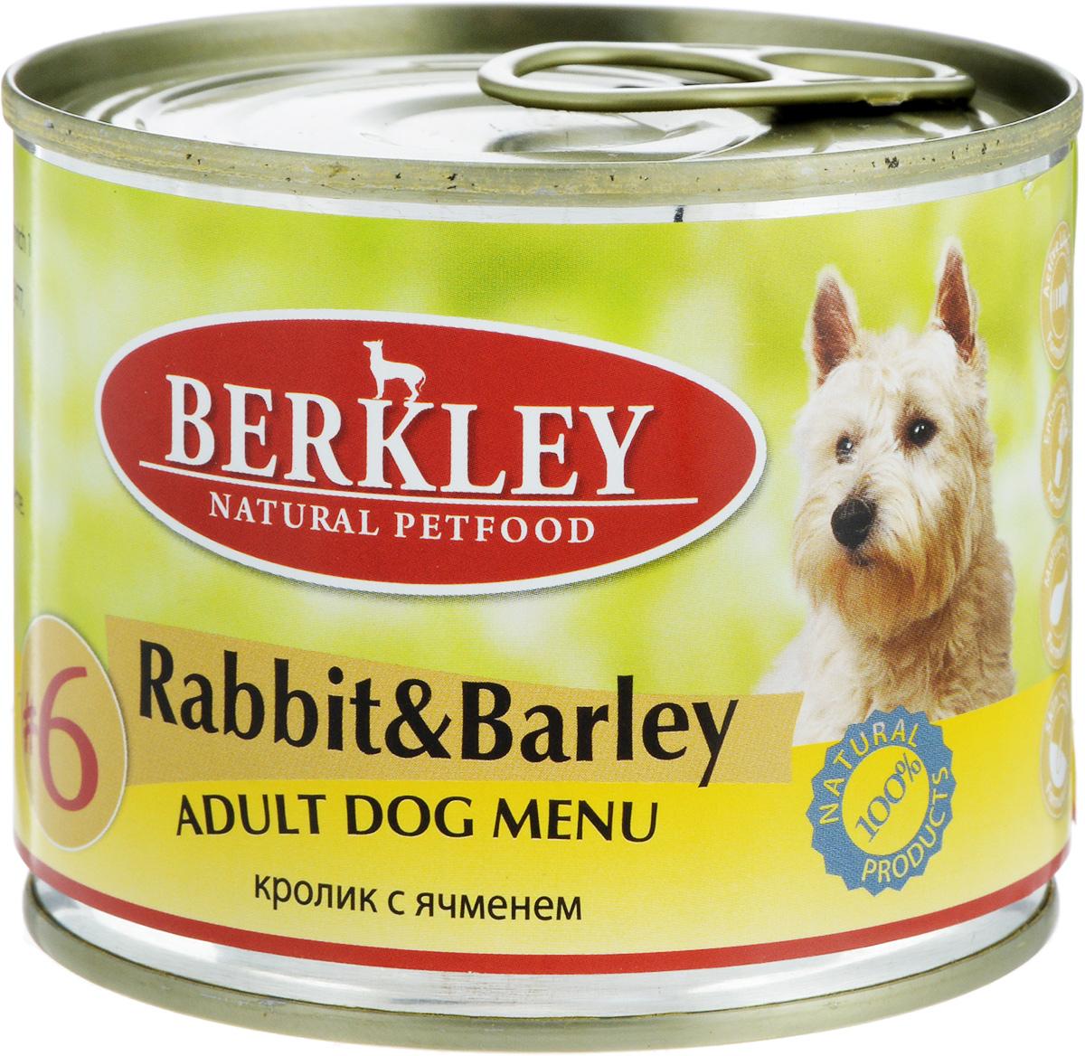 Консервы Berkley №6, для взрослых собак, кролик с ячменем, 200 г0120710Консервы Berkley №6 - полноценное консервированное питание для взрослых собак. Не содержат сои, консервантов, искусственных красителей и ароматизаторов. Корм полностью удовлетворяет ежедневные энергетические потребности животного и обеспечивает оптимальное функционирование пищеварительной системы.Товар сертифицирован.
