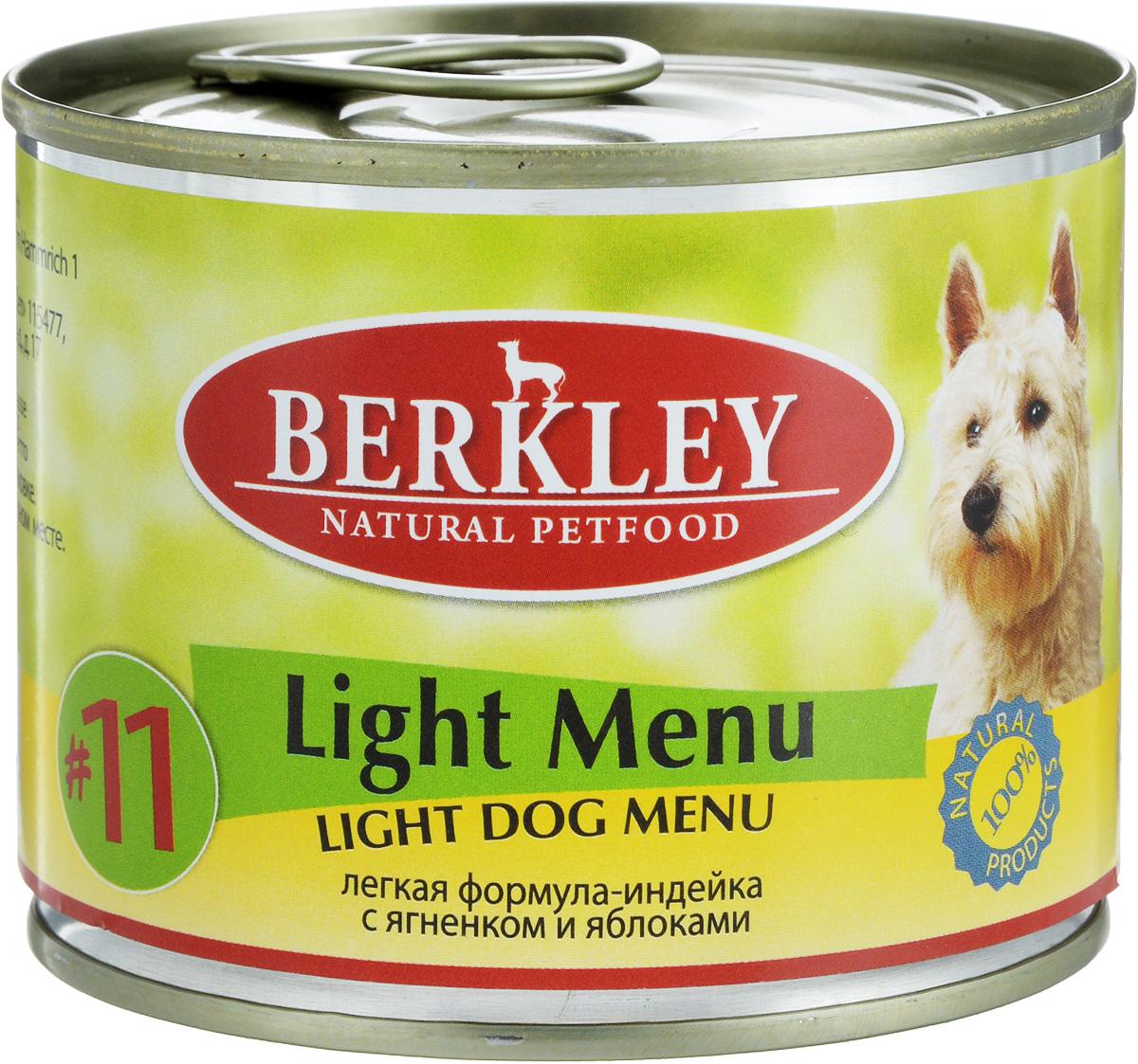 Консервы для собак Berkley Light Menu, индейка с ягненком и яблоками, 200 г0120710Консервы Berkley Light Menu - полноценное консервированное питание для собак с избыточным весом. Не содержат сои, консервантов, искусственных красителей и ароматизаторов. Корм полностью удовлетворяет ежедневные энергетические потребности животного и обеспечивает оптимальное функционирование пищеварительной системы.Товар сертифицирован.