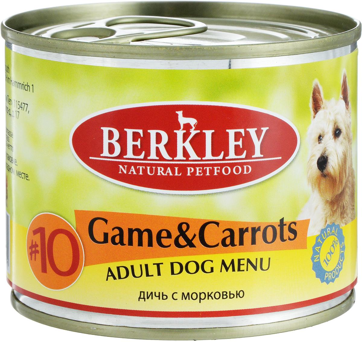 Консервы для собак Berkley №10, оленина с морковью, 200 г102.418Консервы Berkley №10 - полноценное консервированное питание для собак. Не содержат сои, консервантов, искусственных красителей и ароматизаторов. Корм полностью удовлетворяет ежедневные энергетические потребности животного и обеспечивает оптимальное функционирование пищеварительной системы.Товар сертифицирован.