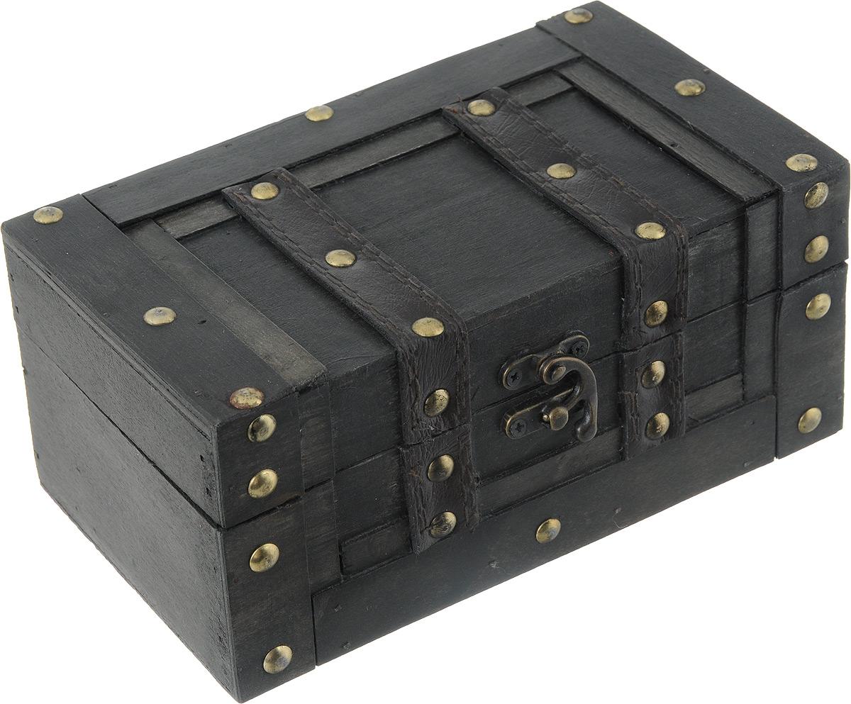 Шкатулка декоративная Bestex, 20 х 11,5 х 9 см43707Декоративная шкатулка Bestex, выполненная в виде старинного сундука, идеально подойдет для хранения бижутерии, принадлежностей для шитья, различных мелочей и безделушек. Изделие выполнено из МДФ, декорировано металлическими элементами и вставками из искусственной кожи. Закрывается на металлический курковый замок. Такая шкатулка станет отличным подарком человеку, ценящему необычные и стильные аксессуары.