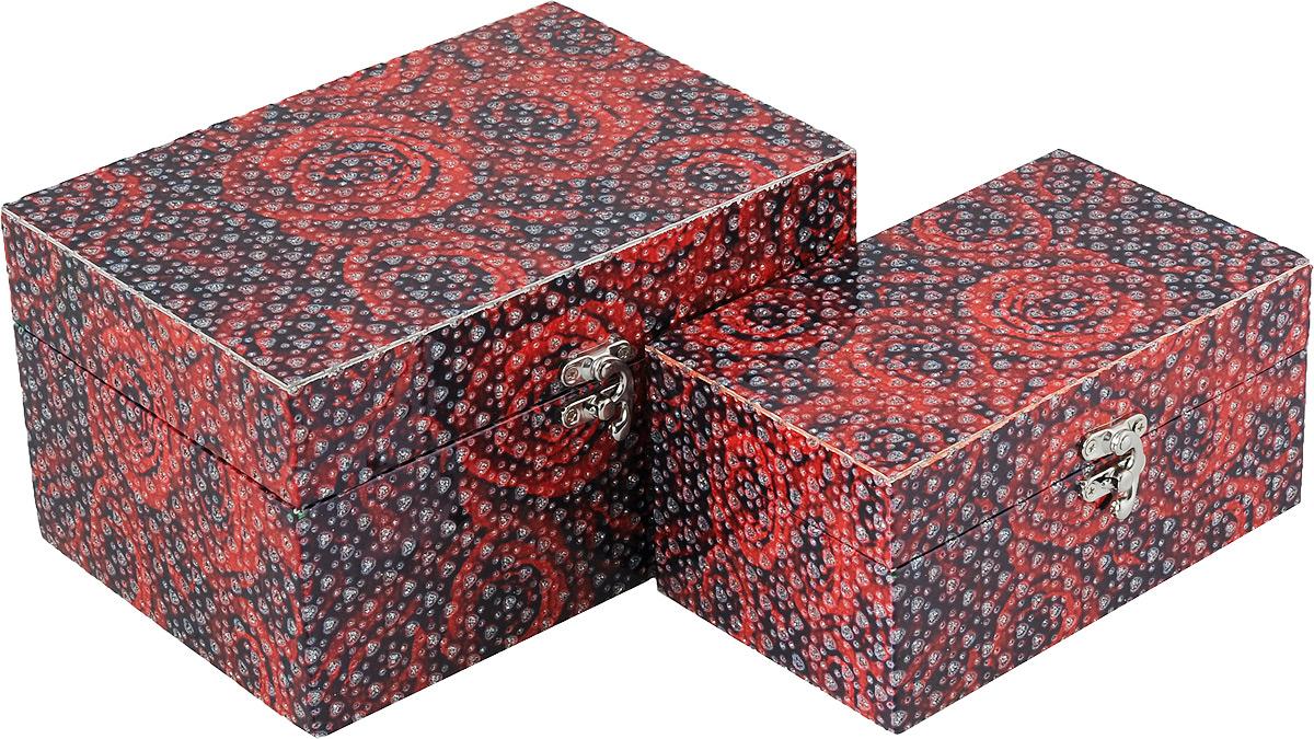 Набор декоративных шкатулок Bestex Розы, 2 шт7716874Набор декоративных шкатулок Bestex Розы идеально подойдет для хранения бижутерии, принадлежностей для шитья, различных мелочей и безделушек. Шкатулки выполнены из МДФ, дополнены цветочным принтом и тиснением в виде сердечек с блестками. Шкатулки закрываются на металлический курковый замок. Такой набор станет отличным подарком человеку, ценящему необычные и стильные аксессуары.Размер шкатулок: 18 х 11 х 9 см; 22 х 15 х 12 см.
