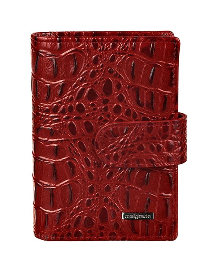 Визитница женская Malgrado, цвет: красный. 42003-50801BM151002Стильная визитница Malgrado с веерным открытием изготовлена из натуральной кожи и оформлена тиснением под кожу рептилии. Внутри содержит прозрачный вкладыш с двадцатью кармашками для кредитных и дисконтных карт. На боковых стенках имеются два дополнительных кармана для пропуска и карт. Закрывается визитница на хлястик с кнопками, при помощи чего регулируется объем. Такая визитница станет замечательным подарком человеку, ценящему качественные и практичные вещи.