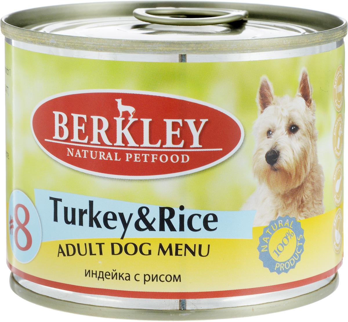 Консервы для собак Berkley №8, индейка с рисом, 200 г0120710Консервы Berkley №8 - полноценное консервированное питание для собак. Не содержат сои, консервантов, искусственных красителей и ароматизаторов. Корм полностью удовлетворяет ежедневные энергетические потребности животного и обеспечивает оптимальное функционирование пищеварительной системы.Товар сертифицирован.