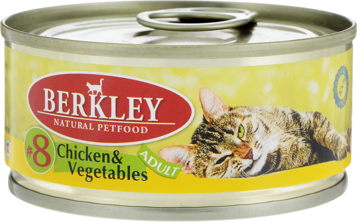 Консервы для кошек Berkley №8, цыпленок с овощами, 100 г0120710Консервы Berkley №8 - полноценное консервированное питание для кошек. Не содержат сои, консервантов, искусственных красителей и ароматизаторов. Корм полностью удовлетворяет ежедневные энергетические потребности животного и обеспечивает оптимальное функционирование пищеварительной системы.Товар сертифицирован.