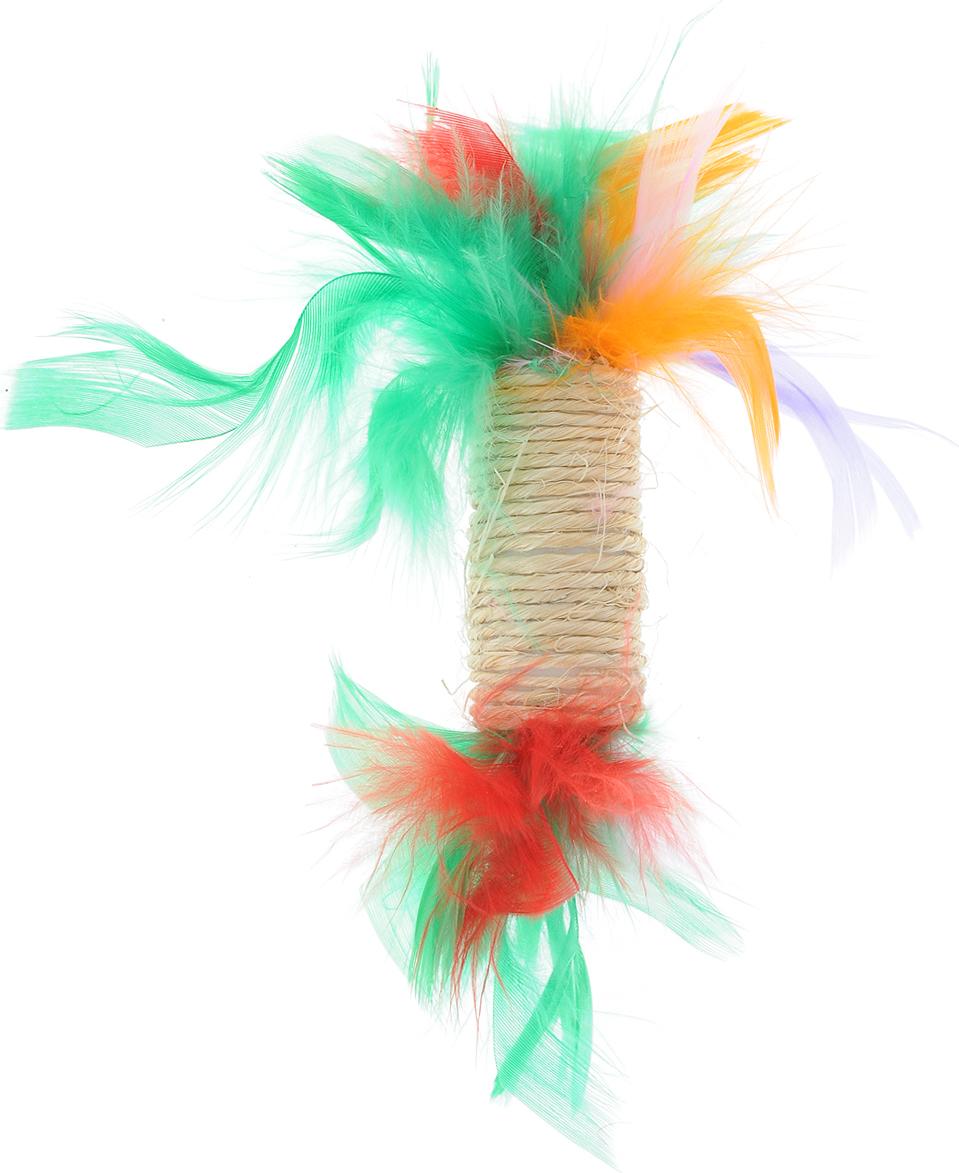 Игрушка для кошек Zoobaloo Когтеточка с пером, цвет: оранжевый, зеленый, красный. 33000120710Игрушка Zoobaloo Когтеточка с пером предназначена для кошек. Эта привлекательная когтеточка изготовлена из сизалевой ткани, украшена яркими перьями и позволит вам избежать появления царапин на мебели! Кошачья мята делает игрушку отличным аксессуаром для самостоятельной игры.