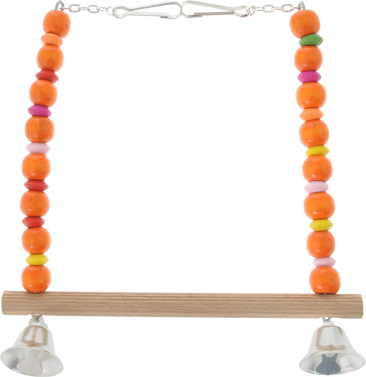 Игрушка для птиц Zoobaloo Качели. Африка, цвет: оранжевый, розовый. 57312171996Игрушка Zoobaloo Качели. Африка - превосходный аксессуар для снятия стресса и развлечения вашего пернатого компаньона! Экзотическая расцветка, деревянная жердочка, чтобы не повредить нежные лапки, и два звонких колокольчика! Кроме того, качельки имеют два удобных карабина для подвешивания в клетке.