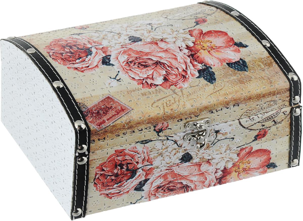 Шкатулка декоративная Bestex Послание из роз, 24 х 15 х 12,5 смFS-91909Декоративная шкатулка Bestex Послание из роз, выполненная из МДФ, идеально подойдет для хранения бижутерии, принадлежностей для шитья, различных мелочей и безделушек. Изделие декорировано принтом в виде цветов, дополнено кожаными вставками с клепками и тиснением с блестками. Шкатулка закрывается на металлический курковый замок. Такая шкатулка станет отличным подарком человеку, ценящему необычные и стильные аксессуары.