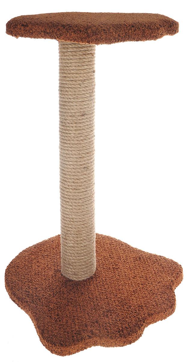 Когтеточка Неженка Лапа, цвет: коричневый, бежевый, 35 х 37 х 58 см0120710Когтеточка Неженка Лапа поможет сохранить мебель и ковры в доме от когтей вашего любимца, стремящегося удовлетворить свою естественную потребность точить когти.Основание изделия изготовлено из ДСП и обтянуто прочной тканью, а столб для точения когтей обтянут джутом. Товар продуман в мельчайших деталях и, несомненно, понравится вашей кошке.Всем кошкам необходимо стачивать когти. Когтеточка - один из самых необходимых аксессуаров для кошки. Для приучения к когтеточке можно натереть ее сухой валерьянкой или кошачьей мятой. Когтеточка поможет вашему любимцу стачивать когти и при этом не портить вашу мебель.Размер лежачего места: 31 х 34 см.