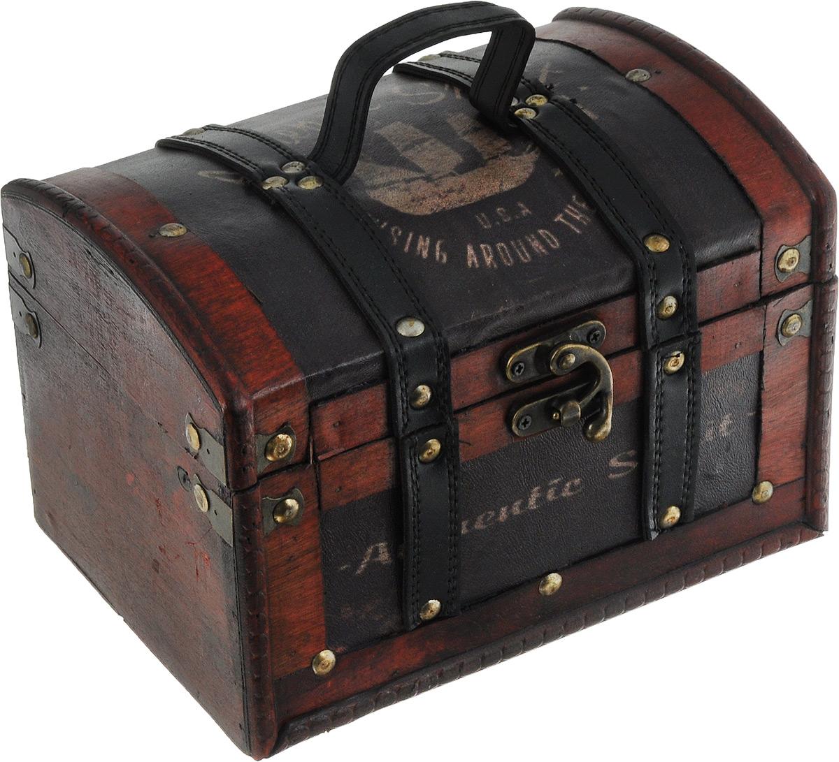 Шкатулка декоративная Bestex, 22,5 х 15,5 х 5,5 смRG-D31SДекоративная шкатулка Bestex, выполненная из МДФ в виде старинного сундука, идеально подойдет для хранения бижутерии, принадлежностей для шитья, различных мелочей и безделушек. Изделие обтянуто искусственной кожей с принтом, дополнено металлическими элементами и кожаными вставками. Шкатулка закрывается на металлический курковый замок. Для переноски предусмотрена ручка. Такая шкатулка станет отличным подарком человеку, ценящему необычные и стильные аксессуары.
