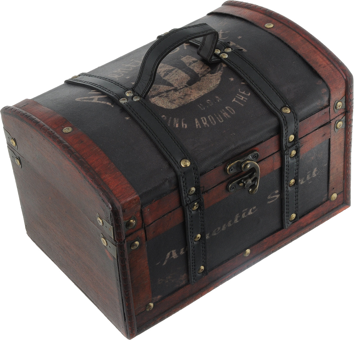 Шкатулка декоративная Bestex, 27,5 х 18,5 х 18,5 см54 009303Декоративная шкатулка Bestex, выполненная из МДФ в виде старинного сундука, идеально подойдет для хранения бижутерии, принадлежностей для шитья, различных мелочей и безделушек. Изделие обтянуто искусственной кожей с принтом, дополнено металлическими элементами и кожаными вставками. Шкатулка закрывается на металлический курковый замок. Для переноски предусмотрена ручка. Такая шкатулка станет отличным подарком человеку, ценящему необычные и стильные аксессуары.