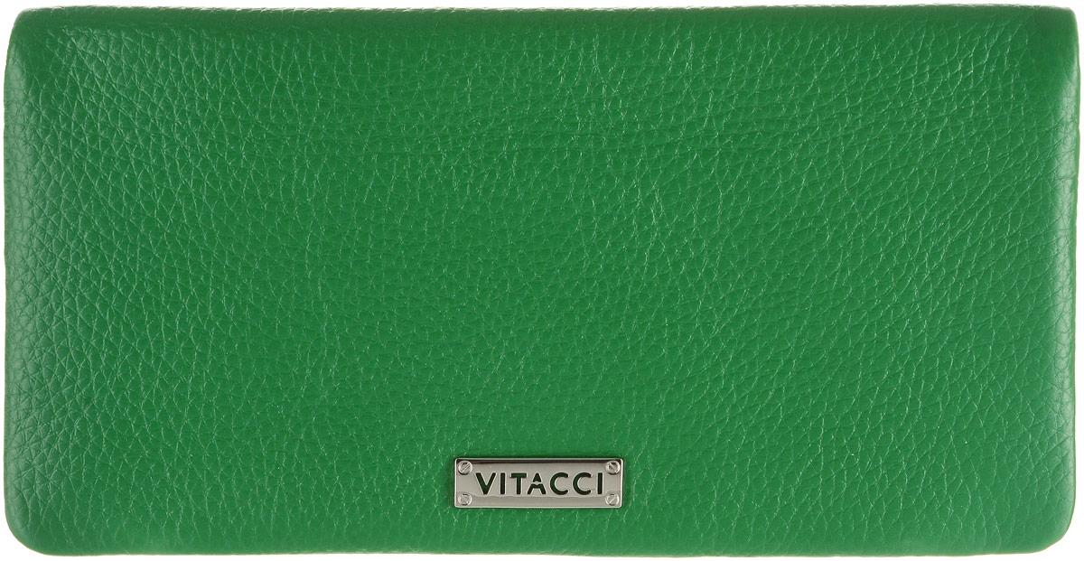 Кошелек женский Vitacci, цвет: зеленый. HS1411-022_516Элегантный женский кошелек Vitacci выполнен из высококачественной натуральной кожи. Кошелек застегивается на клапан с кнопкой и имеет три отделения для купюр. Внутри также располагаются двенадцать накладных открытых кармашков для карт, один из которых дополнен прозрачной вставкой, и прорезной карман на застежке-молнии. Кошелек дополнен отделением для мелочи на молнии, которое расположено на задней стенке. Практичность и уникальный стиль кошелька Vitacci подчеркнут вашу элегантность и превосходный вкус.