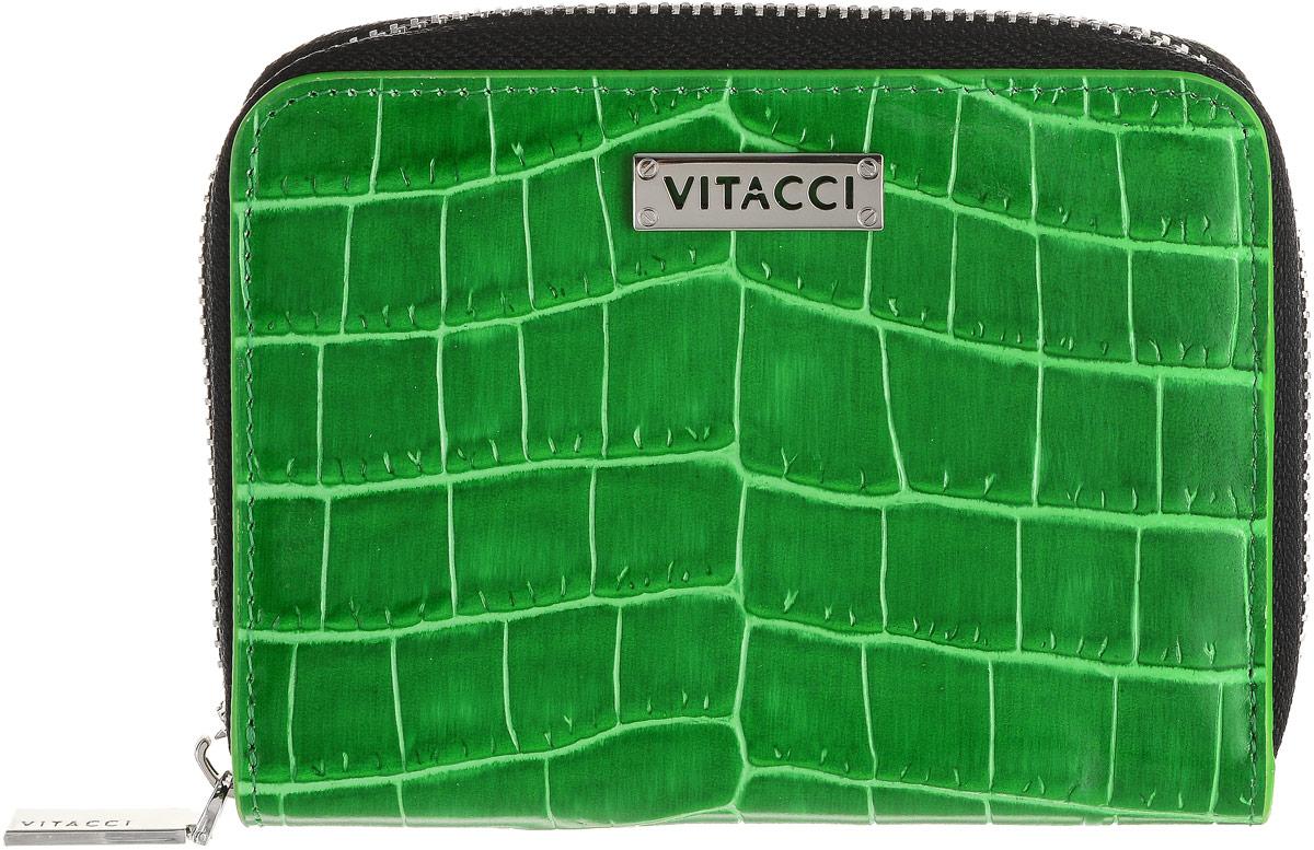 Кошелек женский Vitacci, цвет: зеленый. HS1371-022_516Элегантный женский кошелек Vitacci выполнен из высококачественной натуральной кожи с тиснением под крокодила. Кошелек застегивается на застежку-молнию и имеет два отделения для купюр. Внутри также располагаются семь накладных открытых кармашков для карт, один из которых дополнен прозрачной вставкой. На задней стенке кошелька находится прорезной карман для мелочи на застежке-молнии. Практичность и уникальный стиль кошелька Vitacci подчеркнут вашу элегантность и превосходный вкус.