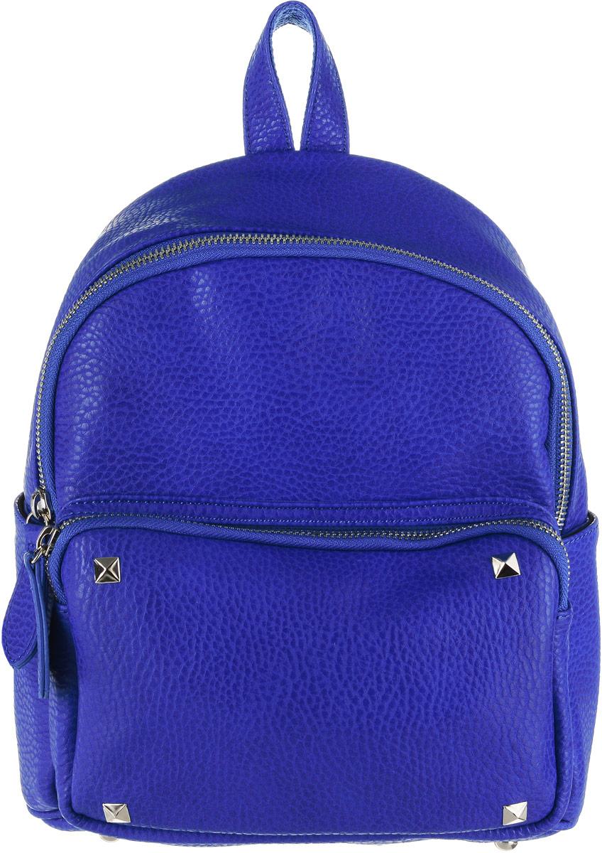 Рюкзак женский Vitacci, цвет: синий. HG0044S76245Стильный женский рюкзак Vitacci идеально подойдет под ваш образ. Он выполнен из качественной искусственной кожи. На лицевой стороне расположен удобный карман, закрывающийся на молнию, по бокам карманы на металлических кнопках. Внутри расположено главное отделение, которое состоит из одного кармана на молнии и двух открытых карманов. Рюкзак оснащен лямками, длина которых регулируется с помощью пряжек. Такой модный и удобный рюкзак станет незаменимым аксессуаром в вашем гардеробе.