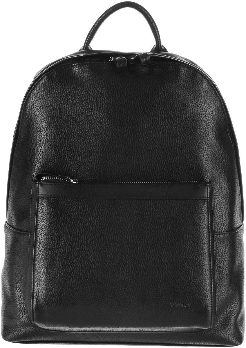 Рюкзак мужской Vitacci, цвет: черный. GY0183-47660-00504Стильный мужской рюкзак Vitacci идеально подойдет под ваш образ. Он выполнен из качественной искусственной кожи. На лицевой стороне расположен удобный карман, закрывающийся на молнию. Внутри расположено главное отделение, которое состоит из одного кармана на молнии, открытого кармана для телефона и мелочей и мягкий карман для планшета. Рюкзак оснащен широкими лямками, длина которых регулируется с помощью пряжек.Такой модный и удобный рюкзак станет незаменимым аксессуаром в вашем гардеробе.