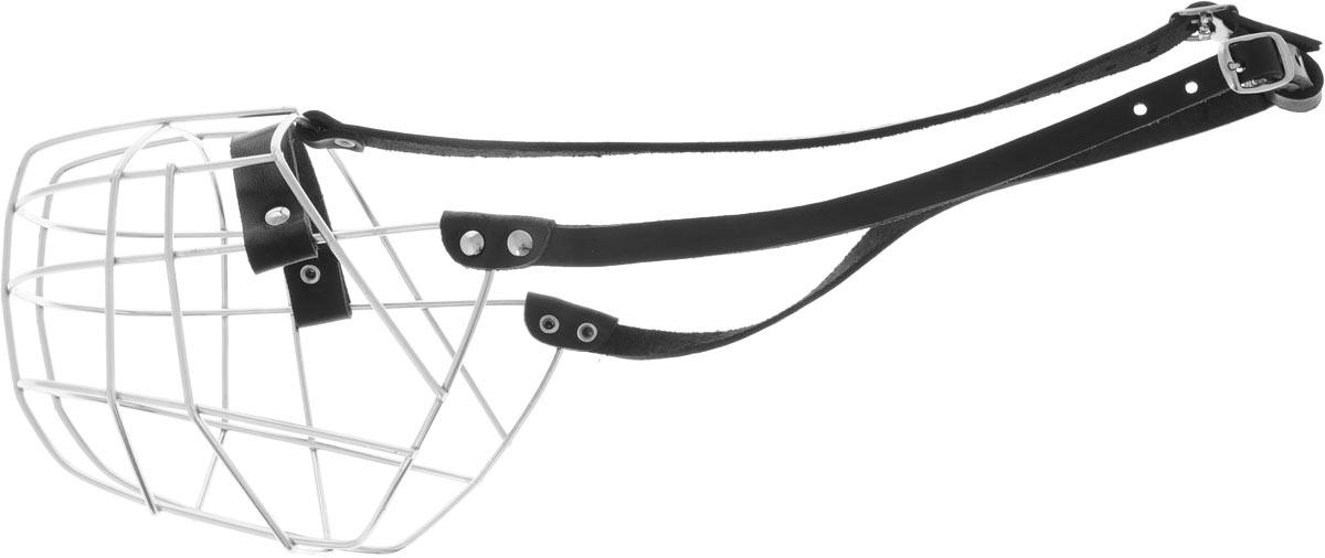 Намордник Каскад №9, обхват 38 см0120710Намордник Каскад №9, выполненный из металла с ремешком из натуральной кожи, разработан специально для крупных пород собак и подходит под строение морды ротвейлера. Намордник очень удобный, не сковывает пасть животного при движении, не натирает благодаря минимальному числу сочленений и утопленным в кожаную часть намордника заклепкам. Надежно и крепко держится на морде вашего хвостатого друга.Обхват намордника: 38 см.