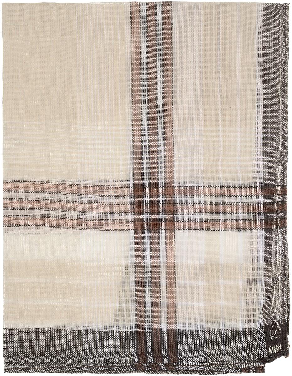 Платок носовой мужской Zlata Korunka, цвет: бежевый, коричневый. 45449. Размер 33 х 35 смАжурная брошьМужской носовой платок Zlata Korunka, изготовленный из натурального хлопка, приятен в использовании и отлично впитывает влагу. Материал не садится и хорошо стирается.