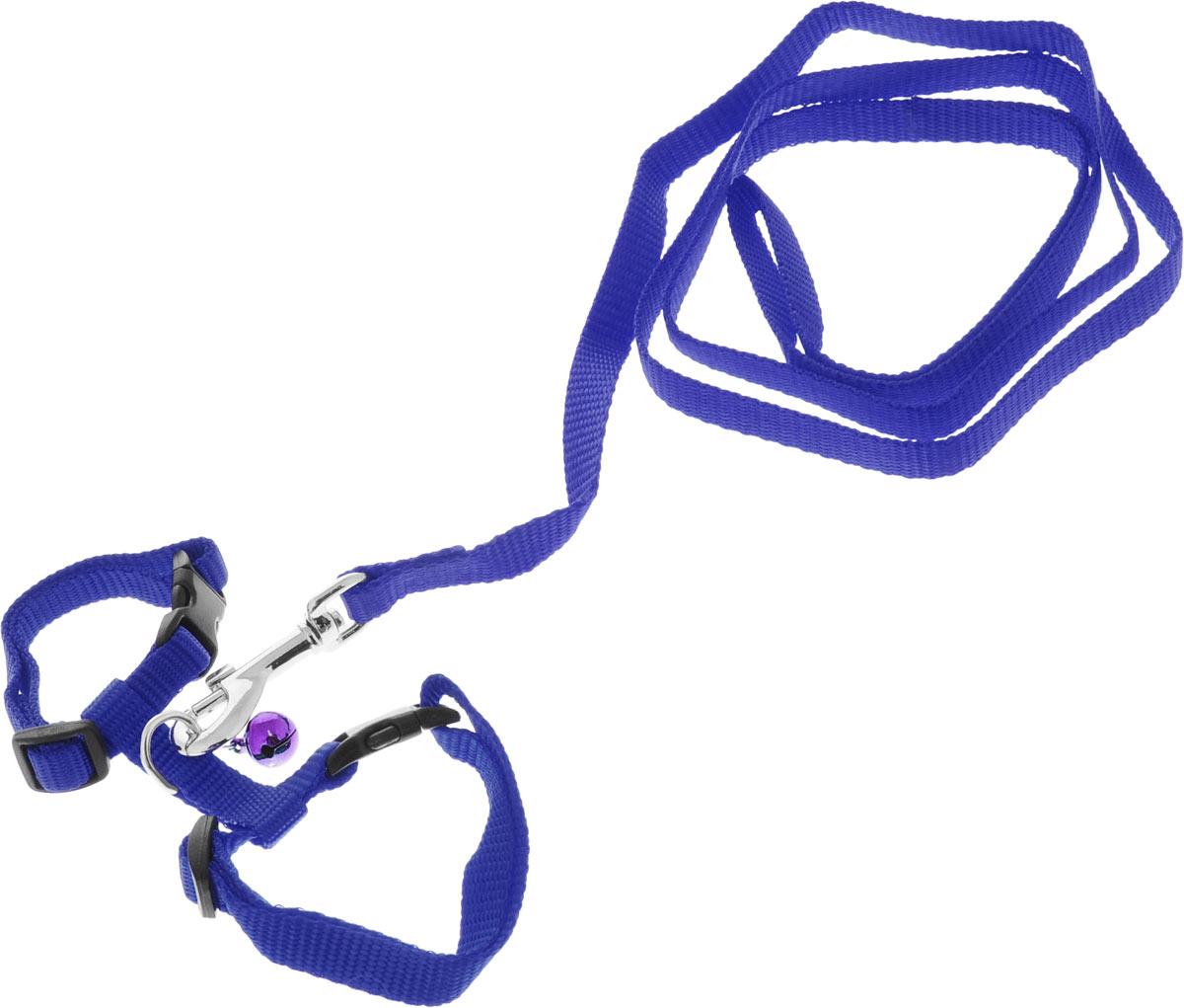 Шлейка для грызунов Каскад, с поводком, цвет: синий, ширина 10 мм, обхват груди 20-30 см28209Шлейка изготовлена из прочного нейлона и дополнена бубенчиком, подходит для домашних грызунов. Крепкие металлические элементы делают еенадежной и долговечной. Шлейка - это альтернатива ошейнику. Правильно подобранная шлейка не стесняет движения питомца, не натирает кожу, поэтому животное чувствует себя в ней уверенно и комфортно. Размер регулируется при помощи пряжки.В комплекте поводок с металлическим карабином.Обхват груди: 20-30 см. Ширина шлейки: 1 см.Длина поводка: 108 см.