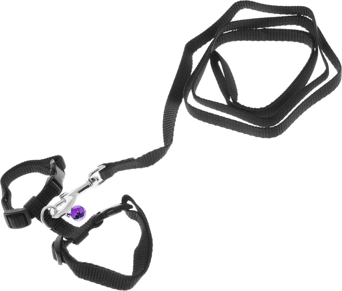 Шлейка для грызунов Каскад, с поводком, цвет: черный, ширина 10 мм, обхват груди 20-30 смок15_синийШлейка изготовлена из прочного нейлона и дополнена бубенчиком, подходит для домашних грызунов. Крепкие металлические элементы делают еенадежной и долговечной. Шлейка - это альтернатива ошейнику. Правильно подобранная шлейка не стесняет движения питомца, не натирает кожу, поэтому животное чувствует себя в ней уверенно и комфортно. Размер регулируется при помощи пряжки.В комплекте поводок с металлическим карабином.Обхват груди: 20-30 см. Ширина шлейки: 1 см.Длина поводка: 108 см.