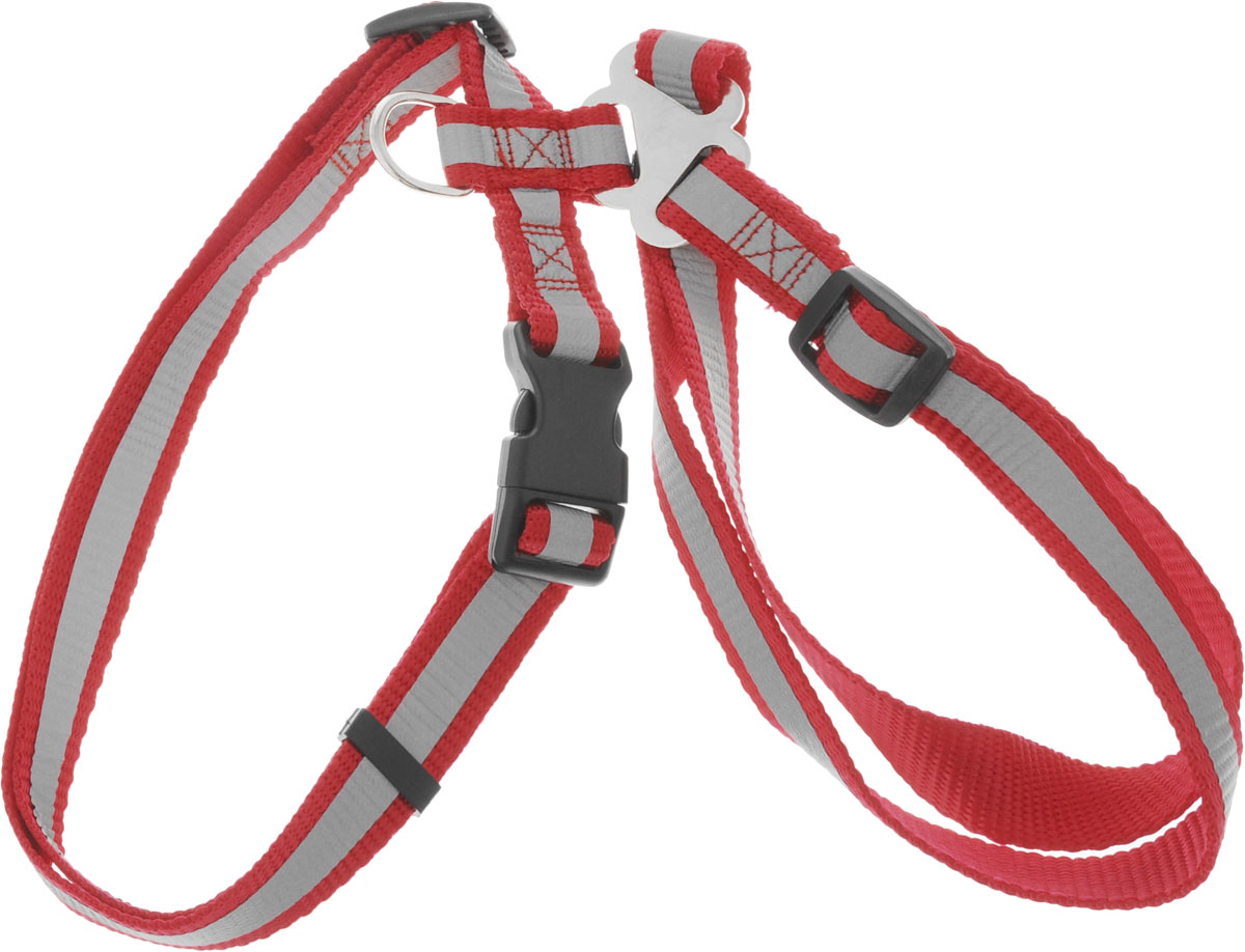 Шлейка для собак Каскад, со светоотражателем, цвет: красный, ширина 20 мм, обхват груди 35-50 смHB05BШлейка, изготовленная из прочного нейлона, подходит для собак средних пород. Крепкие металлические элементы делают ее надежной и долговечной. Шлейка - это альтернатива ошейнику. Правильно подобранная шлейка не стесняет движения питомца, не натирает кожу, поэтому животное чувствует себя в ней уверенно и комфортно. Размер регулируется при помощи пряжки. Изделие дополнено светоотражающим элементом.Обхват груди: 35-50 см. Ширина шлейки: 2 см.