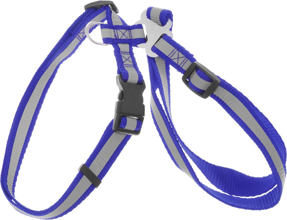 Шлейка для собак Каскад, со светоотражателем, цвет: синий, ширина 20 мм, обхват груди 35-50 смWD1003Шлейка, изготовленная из прочного нейлона, подходит для собак. Крепкие металлические элементы делают ее надежной и долговечной. Шлейка - это альтернатива ошейнику. Правильно подобранная шлейка не стесняет движения питомца, не натирает кожу, поэтому животное чувствует себя в ней уверенно и комфортно. Размер регулируется при помощи пряжки. Изделие дополнено светоотражающим элементом.Обхват груди: 35-50 см. Ширина шлейки: 2 см.