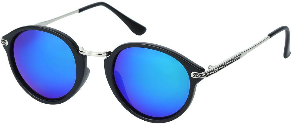 Очки солнцезащитные женские Fabretti, цвет: черный, синий. E271673-2PZINT-06501Женские солнцезащитные очки от итальянского бренда Fabretti – это изысканный аксессуар, который должен быть у каждой модницы в этом сезоне. Уникальная форма в ретро стиле и дизайнерская оправа из комбинации многослойного пластика и металла превращает модель в невероятно изысканный и яркий аксессуар, который подойдет под любой современный образ. Линзы цвета хамелеон, зеркальное напыление и большая степень защиты от ультрафиолетовых лучей, - все это предотвратит усталость глаз, а поляризационное покрытие с легкостью отразит различные блики, с помощью чего очки станут прекрасной находкой для автолюбительниц!