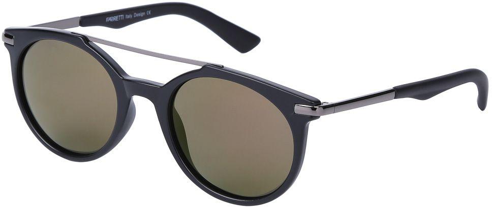 Очки солнцезащитные женские Fabretti, цвет: черный, хаки. E271790-1PZBM8434-58AEЭксклюзивные женские солнцезащитные очки от итальянского бренда Fabretti выполнены из многослойного пластика и прочного металла. Дизайнерская форма в стиле ретро и элегантное сочетание черного и золотого цвета превращают модель в невероятно яркий и утонченный аксессуар, который подойдет под любой современный образ. Поляризационное покрытие линз и большая степень защиты от ультрафиолетовых лучей защитит ваши глаза от усталости, а прочное крепление дужек помогут наслаждаться как на отдыхе, так и за рулем автомобиля!