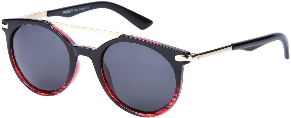 Очки солнцезащитные женские Fabretti, цвет: черный, красный, золотистый. E271790-2PINT-06501Эксклюзивные женские солнцезащитные очки от итальянского бренда Fabretti выполнены из многослойного пластика и прочного металла. Дизайнерская форма в стиле ретро и элегантное сочетание черного и золотого цвета превращают модель в невероятно яркий и утонченный аксессуар, который подойдет под любой современный образ. Изысканный переход цвета и большая степень защиты от ультрафиолетовых лучей защитит ваши глаза от усталости, а прочное крепление дужек помогут наслаждаться моделью несколько сезонов подряд!