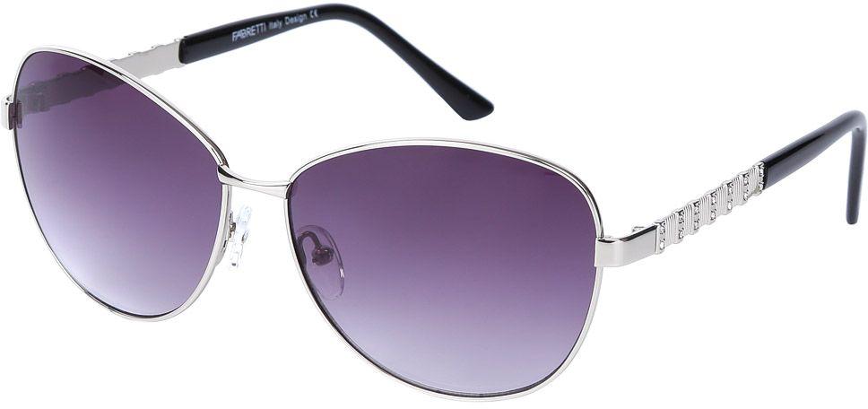 Очки солнцезащитные женские Fabretti, цвет: серебристый, черный, пурпурный. E278672-2GINT-06501Женские очки от итальянского бренда Fabretti призваны для того, чтобы украсить и дополнить ваш женственный образ. Изысканный серый цвет в сочетании с градиентным покрытием линз превращают модель в утонченный аксессуар, наполненный изыском итальянской моды. Элегантная овальная форма и дизайнерский орнамент на дужках подойдут к любому цветотипу и форме лица. Прочный многослойный пластик и крепление дужек позволят носить аксессуар и изумлять окружающих на протяжении нескольких сезонов!