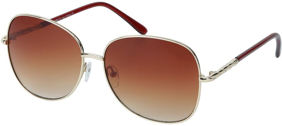 Очки солнцезащитные женские Fabretti, цвет: золотистый, коричневый. E278746-2GINT-06501Изысканные женские очки от итальянского бренда Fabretti призваны для того, чтобы украсить и дополнить ваш элегантный и женственный образ. Насыщенный коричневый цвет в сочетании с градиентным покрытием линз превращают модель в утонченный аксессуар, наполненный изыском современной итальянской моды. Элегантная овальная форма и дизайнерский орнамент на дужках подойдут к любому цветотипу и форме лица. Прочный многослойный пластик и крепление дужек позволят носить аксессуар и изумлять окружающих на протяжении нескольких сезонов!