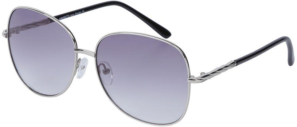 Очки солнцезащитные женские Fabretti, цвет: серебристый, темно-сиреневый. E278746-3GBM8434-58AEИзысканные женские очки от итальянского бренда Fabretti призваны для того, чтобы украсить и дополнить ваш элегантный и женственный образ. Уникальный серый цвет в сочетании с градиентным покрытием линз превращают модель в утонченный аксессуар, наполненный изыском современной итальянской моды. Элегантная овальная форма и дизайнерский орнамент на дужках подойдут к любому цветотипу и форме лица. Прочный многослойный пластик и крепление дужек позволят носить аксессуар и изумлять окружающих на протяжении нескольких сезонов!