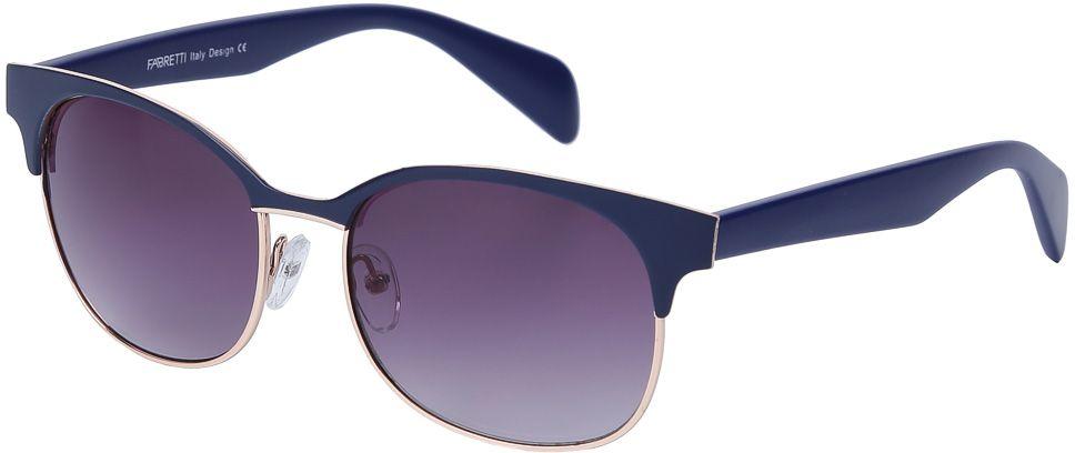 Очки солнцезащитные женские Fabretti, цвет: темно-синий, пурпурный. E278992-1GBM8434-58AEЖенские солнцезащитные очки от итальянского бренда Fabretti выполнены из прочного металла. Стильная форма в стиле 60-х и элегантное сочетание синего и золотого цвета превращают модель в невероятно яркий и утонченный аксессуар, который подойдет под любой современный образ. Изысканное градиентное покрытие линз и большая степень защиты от ультрафиолетовых лучей защитит ваши глаза от усталости, а прочное крепление дужек помогут наслаждаться моделью как на отдыхе, так и за рулем автомобиля.