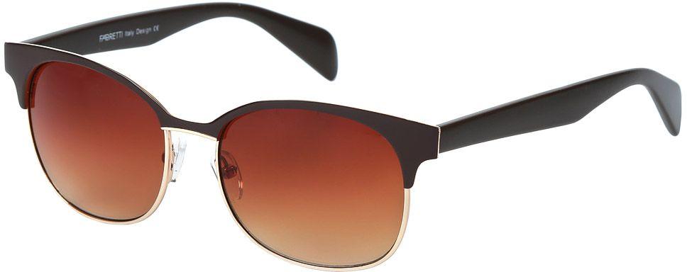 Очки солнцезащитные женские Fabretti, цвет: черный, коричневый. E278992-2GBM8434-58AEЖенские солнцезащитные очки от итальянского бренда Fabretti выполнены из прочного металла. Стильная форма в стиле 60-х и элегантное сочетание кофейного и золотого цвета превращают модель в невероятно яркий и утонченный аксессуар, который подойдет под любой современный образ. Изысканное градиентное покрытие линз и большая степень защиты от ультрафиолетовых лучей защитит ваши глаза от усталости, а прочное крепление дужек помогут наслаждаться моделью несколько сезонов подряд!