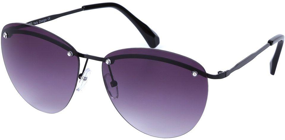 Очки солнцезащитные женские Fabretti, цвет: темно-серый, фиолетовый. E279016-2GINT-06501Женские очки от итальянского бренда Fabretti призваны для того, чтобы украсить и дополнить ваш женственный образ. Классический черный цвет в сочетании с градиентным покрытием линз превращают модель в утонченный аксессуар, наполненный изыском итальянской моды. Элегантная овальная форма и фурнитура в серебряном цвете подойдут к любому цветотипу и форме лица. Прочный металл и крепление дужек позволят носить аксессуар как на отдыхе, так и за рулем автомобиля.