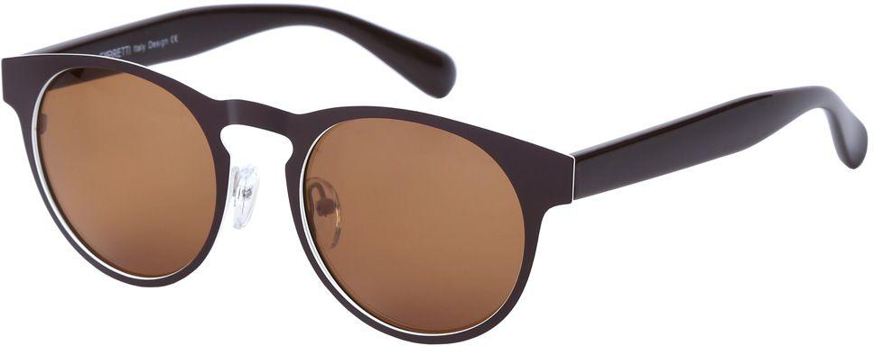 Очки солнцезащитные женские Fabretti, цвет: темно-коричневый, коричневый. E279101-1PINT-06501Дизайнерские очки от итальянского бренда Fabretti призваны для того, чтобы украсить и дополнить ваш яркий образ. Изысканный кофейный цвет в сочетании с молочным оттенком, превращают модель в роскошный аксессуар, наполненный шиком итальянской моды. Изысканная круглая форма и линзы коричневого цвета подойдут к любому цветотипу и форме лица. А прочный металл, поляризационное покрытие и крепление дужек позволят носить аксессуар за рулем автомобиля и на отдыхе.