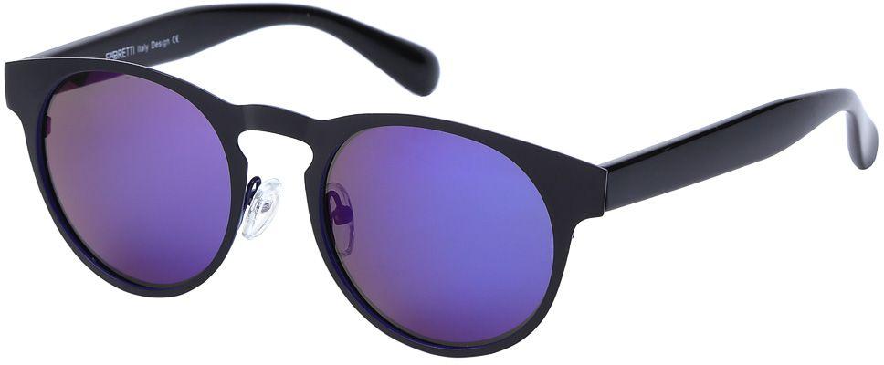 Очки солнцезащитные женские Fabretti, цвет: черный, сине-фиолетовый. E279101-2PZBM8434-58AEДизайнерские очки от итальянского бренда Fabretti призваны для того, чтобы украсить и дополнить ваш яркий образ. Классический черный цвет в сочетании с насыщенным синим оттенком, превращают модель в роскошный аксессуар, наполненный шиком итальянской моды. Изысканная круглая форма и зеркальные линзы фиолетового цвета подойдут к любому цветотипу и форме лица. А прочный металл, поляризационное покрытие и крепление дужек позволят изумлять окружающих на протяжении нескольких сезонов!