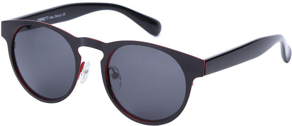 Очки солнцезащитные женские Fabretti, цвет: черный. E279101-3PBM8434-58AEДизайнерские очки от итальянского бренда Fabretti призваны для того, чтобы украсить и дополнить ваш яркий образ. Классический черный цвет в сочетании с насыщенным красным оттенком, превращают модель в роскошный аксессуар, наполненный шиком итальянской моды. Изысканная круглая форма и линзы плотного черого цвета подойдут к любому цветотипу и форме лица. А прочный металл, поляризационное покрытие и крепление дужек позволят изумлять окружающих на протяжении нескольких сезонов!