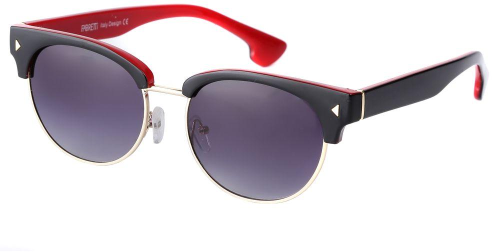 Очки солнцезащитные женские Fabretti, цвет: черный, темно-синий, красный. F3714284-2GINT-06501Стильные женские очки от итальянского бренда Fabretti выполнены из пластика с добавлением прочного металла. Яркое сочетание черного и красного цвета придает модели настоящую нотку итальянского шика. Ультрамодная прямоугольная оправа, мягкое градиентное покрытие линз и золотая фурнитура с легкостью подчеркнут ваш изумительный вкус.