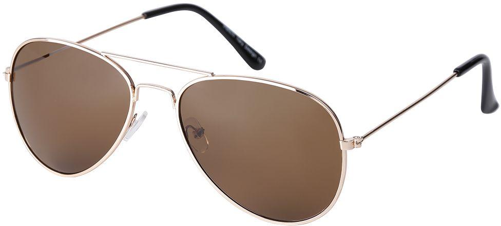 Очки солнцезащитные женские Fabretti, цвет: золотистый, коричневый. F3715038-1INT-06501Модные женские очки-авиаторы от итальянского бренда Fabretti предназначены стать изысканным украшение любого образа. Насыщенный кофейный цвет линз прекрасно дополнит как повседневный, так и классический стиль. Прочная металлическая оправа, аккуратные дужки и градиентное покрытие превратили очки, в аксессуар, который еще долго будет оставаться на пике моды. В комплектации с очками чехол, который можно использовать как салфетку.