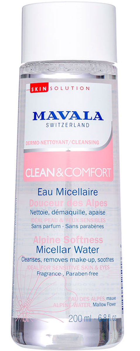 Mavala Смягчающая Альпийская Мицеллярная Вода Clean & Comfort Alpine Softness Micellar Water 200 млFS-00897Неправильное очищение кожи приводит к разрушению защитного барьера и появлению раздражения. Смягчающая Альпийская Мицеллярная Вода швейцарского бренда Mavala входит в линейку Clean&Comfort — это средства для деликатного очищения кожи. Подходит для чувствительной кожи, склонной к раздражениям. Вода для изготовления средства добывается из высокогорных источников в швейцарских Альпах. К ней добавляют экстракт цветов Мальвы, который успокаивает и смягчает кожу. Активное действующее вещество — ультрамягкие мицеллы, которые захватывают частички грязи, не повреждая при этом естественный защитный слой эпидермиса. Средство разработано и протестировано в собственной лаборатории Mavala в Женеве (Швейцария). При изготовлении применяются только безопасные и экологически чистые компоненты. Без мыла, парабенов и отдушек. Смягчающую Альпийскую Мицеллярную Воду Mavala рекомендуется использовать утром и вечером в комплексе.