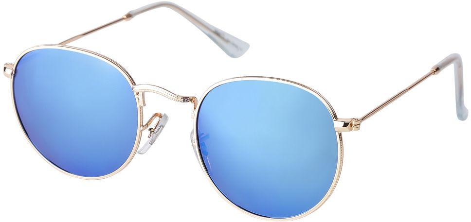 Очки солнцезащитные женские Fabretti, цвет: золотистый, голубой. F37161224-1ZBM8434-58AEАккуратные женские очки от итальянского бренда Fabretti выполнены из прочного металла. Яркие зеркальные линзы в желтом цвете прекрасно дополнят любой весенне-летний образ. Овальная форма, миниатюрные дужки придают модели нотки невероятного изящества. В комплектации с очками чехол, который можно использовать как салфетку.