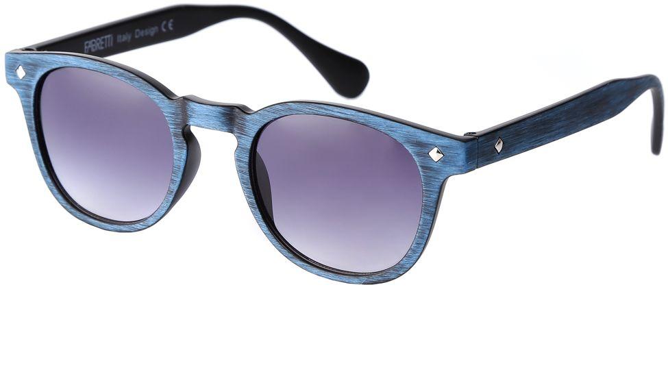 Очки солнцезащитные женские Fabretti, цвет: синий, фиолетовый. F37161812-1GINT-06501Изысканные женские очки от итальянского бренда Fabretti выполнены из многослойного пластика. Невероятно модная в этом сезоне форма оправы, стильная фактурная поверхность, сочетание синего и черного цвета придает модели невероятную утонченность и актуальность в будущем сезоне.Серый цвет линз и мягкое градиентное покрытие превращают модель в универсальный аксессуар, который прекрасно дополнит любой стиль одежды. В комплектации с очками чехол, который можно использовать как салфетку.