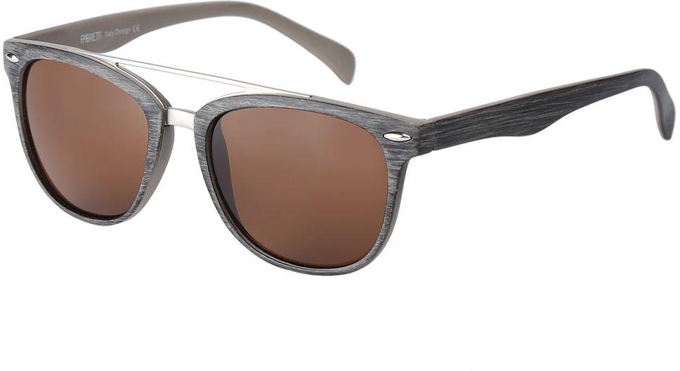 Очки солнцезащитные женские Fabretti, цвет: серый, коричневый. F376090-1BM8434-58AEДизайнерские женские очки от итальянского бренда Fabretti выполнены из многослойного пластика с добавлением прочного металла. Изысканный коричневый цвет линз придает модели настоящую нотку итальянского шика. Ультрамодная прямоугольная оправа, мягкое градиентное покрытие линз и фурнитура в стальном оттенке с легкостью подчеркнут ваш изумительный вкус.