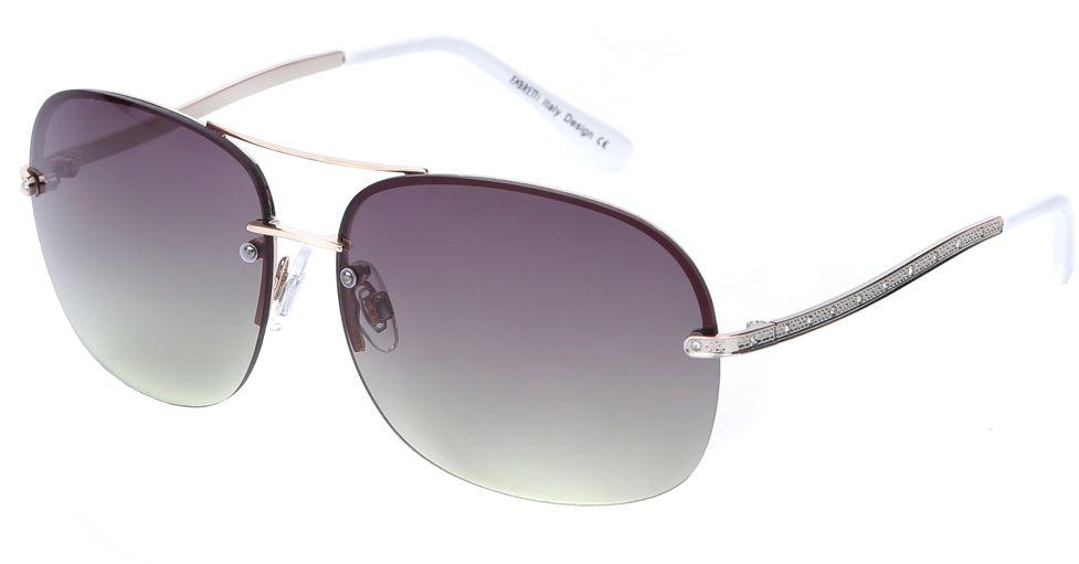 Очки солнцезащитные женские Fabretti, цвет: серебристый, темно-пурпурный. J171899-1GBM8434-58AEЯркие женские очки от итальянского бренда Fabretti в форме –«капельки» выполнены из прочного металла и прекрасно подойдут ко всем типам лица. Дизайнерская модель дополнит как классический, так и романтический образ. Элегантное сочетание белых дужек, золотой фурнитуры придаст любому образу нотки современного шика, а зеленые градиентные линзы подчеркнут вашу яркость и экстравагантность. Высокая степень защиты от солнечных лучей и надежное крепление дужек, - все это превращает модель в уникальный аксессуар, которым будет удобно пользоваться за рулем автомобиля и на отдыхе.